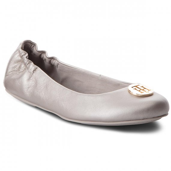 Baleriny TOMMY HILFIGER - Pearlized Leather Ballerina FW0FW03412 Moonbeam 009
