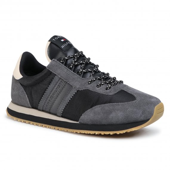 Sneakersy TOMMY HILFIGER - Lo Mix Winter Runner Stripes FM0FM03004 Black BDS