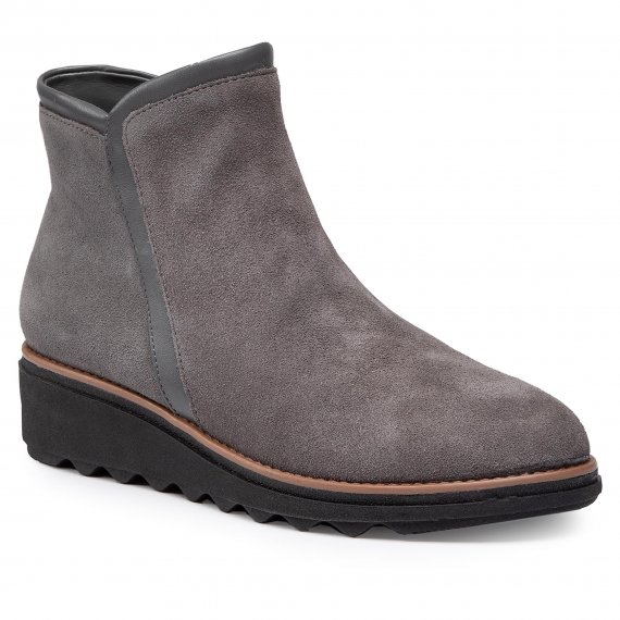 Botki CLARKS - Sharon Heights 261535204 Grey Suede