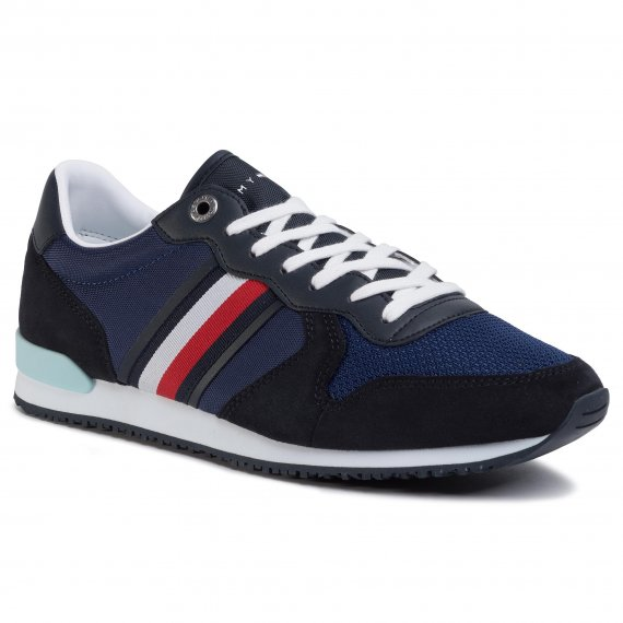 Sneakersy TOMMY HILFIGER - Iconic Material Mix Runner FM0FM02667 Blue Ink C7H