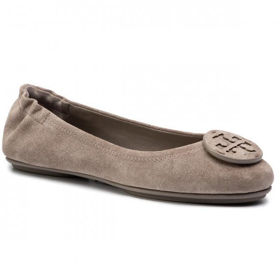 Baleriny TORY BURCH - Minnie Travel Ballet With Leather Logo 57247 Gray Heron/Gray Heron 032