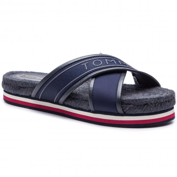 Espadryle TOMMY HILFIGER - Colorful Tommy Flat Sandal FW0FW04159 Midnight 403