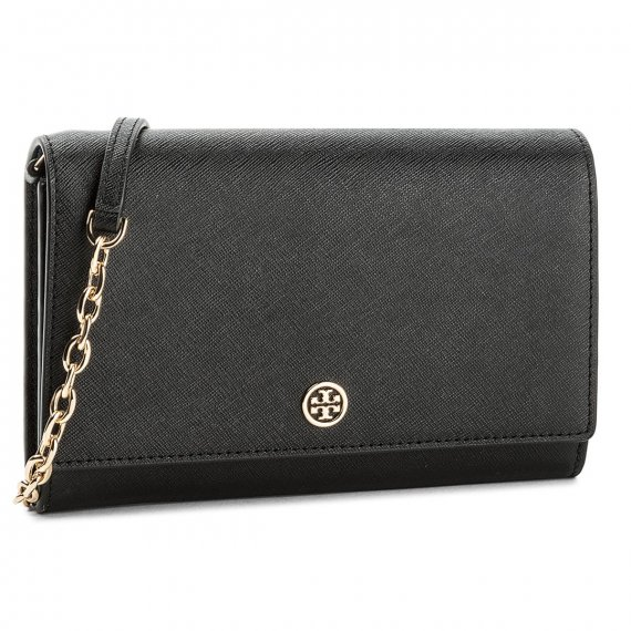 Torebka TORY BURCH - Robinson Chain Wallet 45257 Black/Royal Navy 018