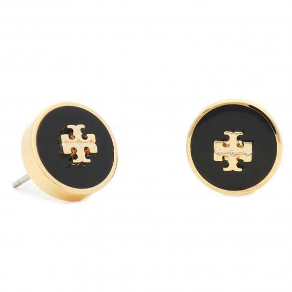 Kolczyki TORY BURCH - Kira Enamel Circle Stud Earring 64885 Tory Gold/Black 720