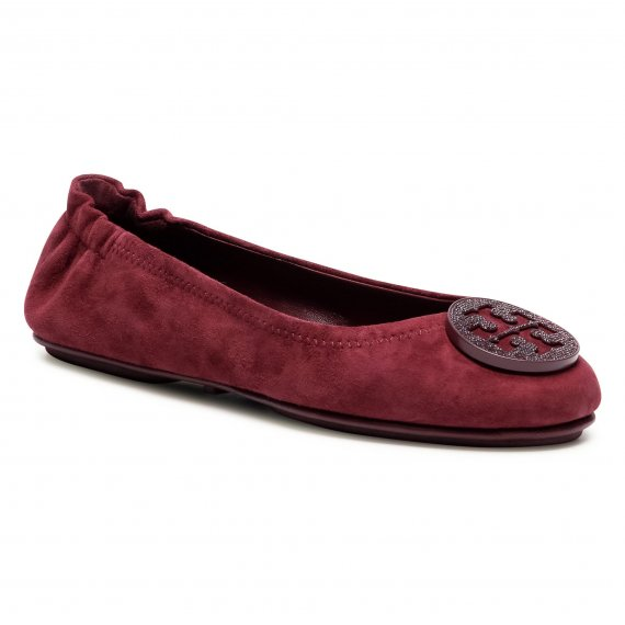 Baleriny TORY BURCH - Minnie Travel Ballet With Pave 79197 Burgundy 927