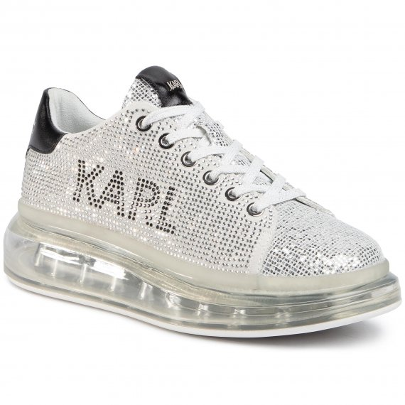 Sneakersy KARL LAGERFELD - KL62623 Silver Textured Lthr
