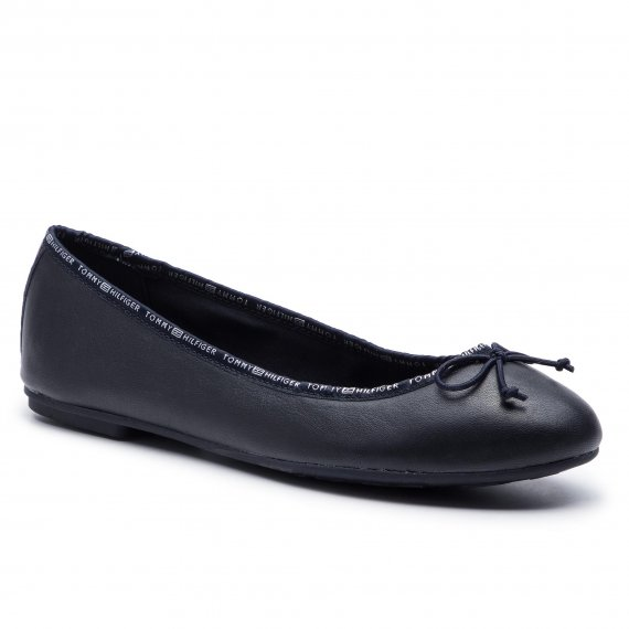Baleriny TOMMY HILFIGER - Leather Ballerina Tommy Branding FW0FW04439 Midnight 403