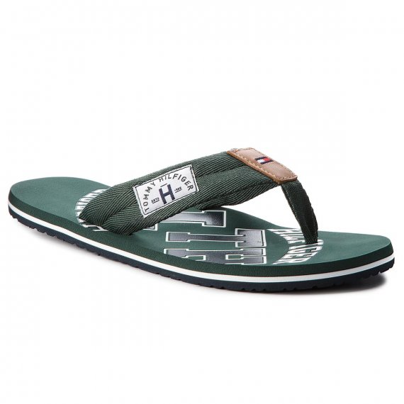 Japonki TOMMY HILFIGER - Essential Th Beach Sandal FM0FM01369 Jungle Green 300