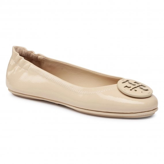 Baleriny TORY BURCH - Minnie Travel Ballet With Leather Logo 75472  Dulce De Leche 284