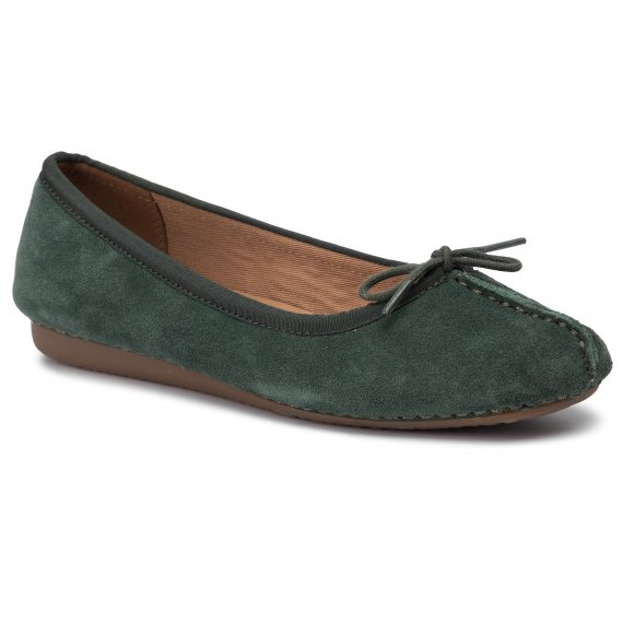 Baleriny CLARKS - Freckle Ice 261456104 Forest Green