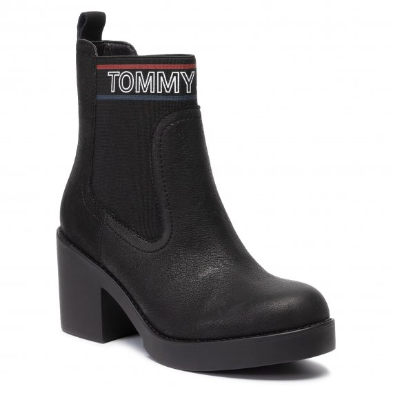 Botki TOMMY JEANS - Corporate Elastic Leather Boot EN0EN00633 Black 990