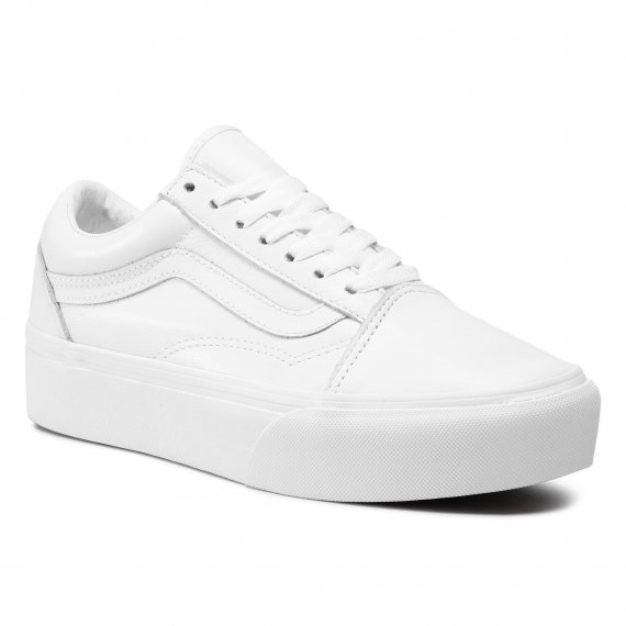Sneakersy VANS - Old Skool Platfor VN0A3B3UOER1 (Leather) Truewht/Truewht