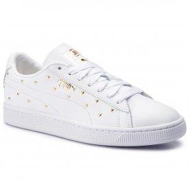 97ec5629eefe76 Puma. Sneakersy PUMA - Basket Studs Wn's 369298 01 Puma White/Puma Team Gold