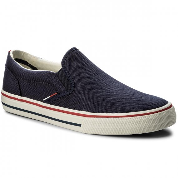 Tenisówki TOMMY JEANS - Textile Slip On EM0EM00002 Ink 006