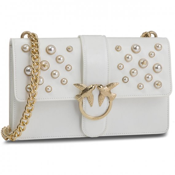 Torebka PINKO - Love Leather Pearls Tracolla Al 18-19 PLTT 1P216H Y4YB White Z04