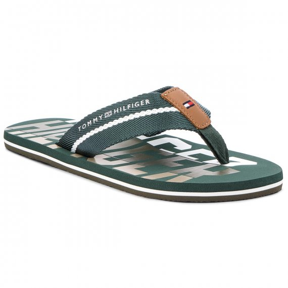 Japonki TOMMY HILFIGER - Bold Hilfiger Beach Sandal FM0FM01367 Jungle Green 300