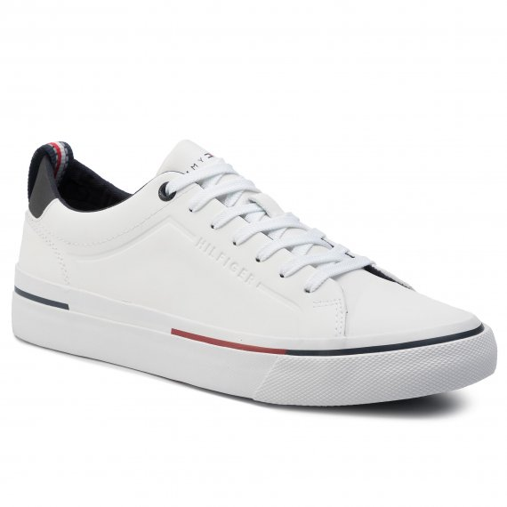 Tenisówki TOMMY HILFIGER - Corporate Leather Sneaker FM0FM02285 White 100