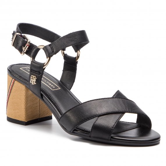 Sandały TOMMY HILFIGER - Elevated Leather Heeled Sandal FW0FW04072 Black 990