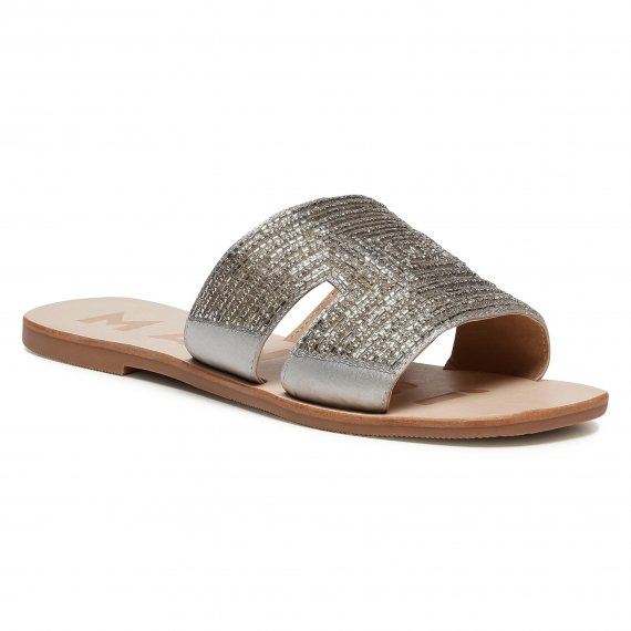 Klapki MANEBI - Leather Sandals S 4.1 Y0  Silver H Glass