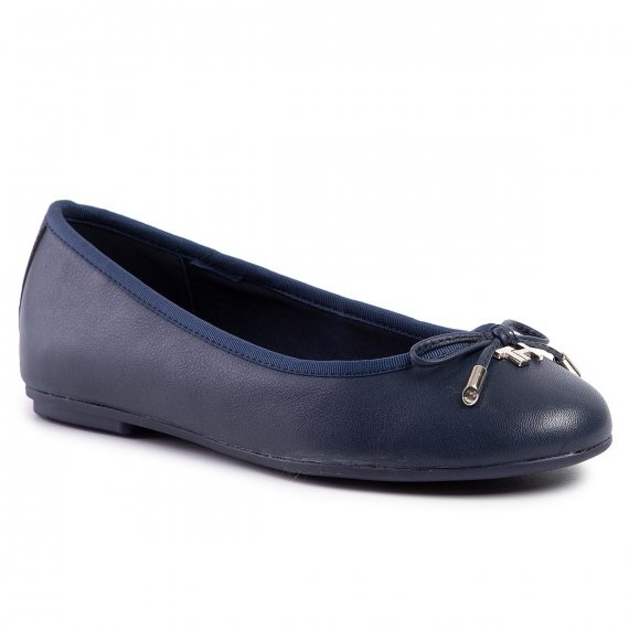 Baleriny TOMMY HILFIGER - Elevated Th Hardware Ballerina FW0FW04594 Sport Navy Db9