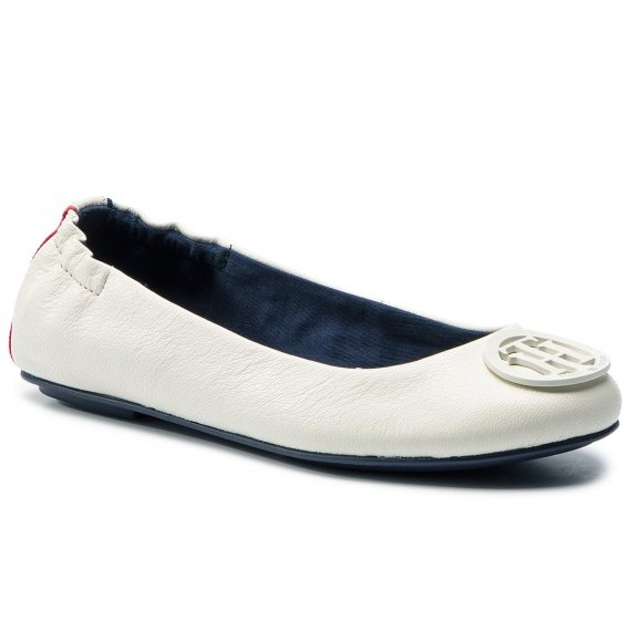 Baleriny TOMMY HILFIGER - Flexible Leather Ballerina FW0FW04073 Whisper White 121