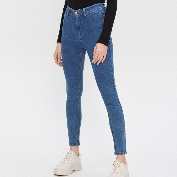 House - Jeansy high waist skinny - Turkusowy