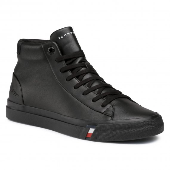 Sneakersy TOMMY HILFIGER - Corporate Leather Sneaker High FM0FM02984 Black BDS