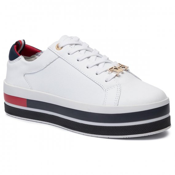Sneakersy TOMMY HILFIGER - Th Hardware Flatform Sneaker FW0FW04295 White 100