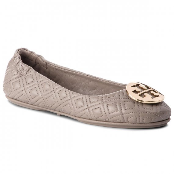 Baleriny TORY BURCH - Quilted Minnie 50736 Dust Storm/Gold 976