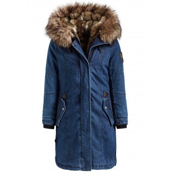 Khujo Płaszcz zimowy 'MERYEM2 DENIM WITH DETACHABLE INNER FUR JACKET'  niebieski denim