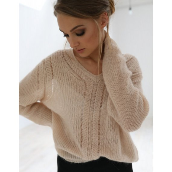 Sweter V-Neck Rose